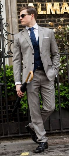 Grey 3-Piece checked wool Suit http://www.tailor4less.com/en-us/men/suits/2357-grey-3-piece-checked-wool-suit