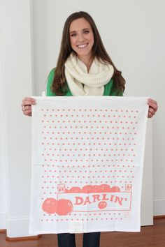 cutest clementine dish towel from the Southern Weddings Shop $12 (hey, that's me!)