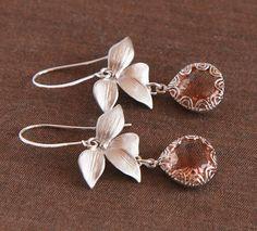 Silver Earrings,Peach Drop,Leaf Earrings,Dainty Earrings,Cute Earrings,Delicate Earrings,Jewel Earrings,Dangle Earrings,Wedding Jewelry