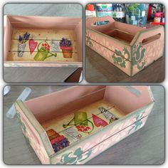 Mini caixinha de feira decorada com decoupage. Ótima opção para utilizar como porta temperos. R$ 40,00.