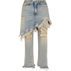 R13 R13 - Layered Distressed High-rise Straight-leg Jeans - Light blue (€750) ❤ liked on Polyvore featuring jeans, high waisted ripped jeans, white destroyed jeans, white distressed jeans, high-waisted jeans and white straight leg jeans