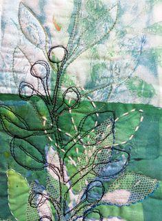 Jane LaFazio - Blue Leaf Bramble ~ original art quilt detail