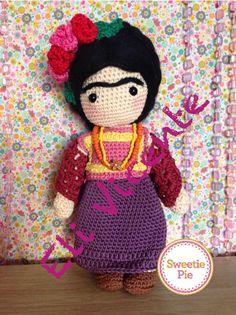 Muñeca de ganchillo Amigurumi Frida Kahlo por TenderDolls en Etsy