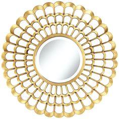 "Chrysanthemum 30"" Round Gold Mirror -"