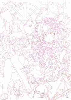 Manga Coloring Book, Adult Coloring Pages, Coloring Sheets, Colouring, Coloring Books, Manga Anime Girl, Anime Girl Drawings, Lineart Anime, Art Poses