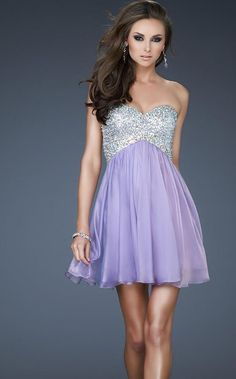 Lavender Beaded Sweetheart Open Back Homecoming Short Dress