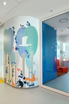 Bright colors and cheerful wall art at Emma Children's Hospital in Amsterdam.