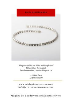 www.erich-zimmermann.com Zimmermann, Fitbit Flex, Studio, Necklaces, Cleopatra, Arts And Crafts, Crystals, Silver, Nice Asses