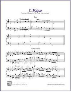 C Major Scale and Arpeggio | Easy and Intermediate for Piano - http://makingmusicfun.net/htm/f_printit_free_printable_sheet_music/c-major-piano.htm