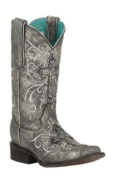 Corral Women's Metallic Grey with Beaded Cross & Embroidery Square Toe Western Boots | Cavender's