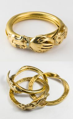 Many pieces of jewellery are linked to betrothal and weddings. This betrothal ring in 3 parts is from 1626.  Images by Mats Landin, Nordiska museet used under a Creative Commons Attribution-NonCommercial-NoDerivatives.
