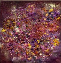 Floral Fantasy - Stef Francis - free embroidery on layers of fabric with trapunto, beads and sequins added Creative Embroidery, Hand Embroidery, Machine Embroidery, Fabric Embellishment, Embellishments, Creative Textiles, Contemporary Quilts, Quilt Stitching, Fabric Textures