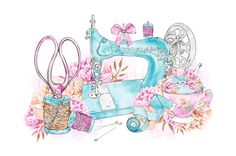 Sewing Clipart Cute Sewing Machine Illustration Printable