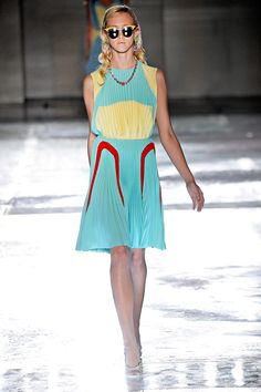 Full pleated colored blocked dress? Prada Spring 2012 is on point my friends