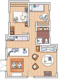 Plano de departamento de 2 dormitorios