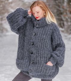 SUPERTANYA Hand Knitted Mohair sweater GREY Oversized Cardigan Fuzzy Jacket  #SuperTanya #Cardigan