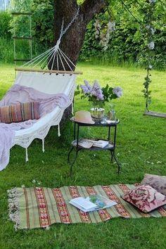 Perfect Picnic Spot With A Hammock In The Shade! Garden Hammock, Garden  Swings,