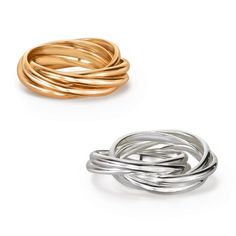 """A five-band roller-ring design creates one sleek look. Pioneer Collection: This collection of knot-like designs and rhinestone sparkle adds the perfect sophisticated touch for everyday wear.FEATURES• Each ring is approximately 1/8"""" W• A wrapped, knotted-look ring• Sizes 6, 8, 10 are availableMATERIALS• Brass• Silvertone plating• Imitation gold platingCARE• Clean with a jewelry cleanerShop the entire Pioneer Collection. #avon #pioneer #jewelry #mom"""