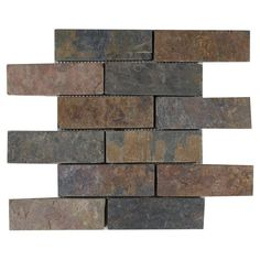 Pea Brick Slate Mosaic 12in X 100190073 Floor And Decor