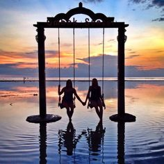 Ombak Sunset Beach Swings, Gili Islands, Trawangan Lombok Indonesia