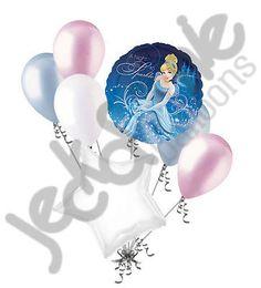 7 pc Cinderella Sparkle Disney Princess Heart Balloon Bouquet Happy Birthday