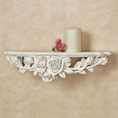 Rose Melody Antique White Floral Wall Shelf Decoration Shabby, Shabby Chic Wall Decor, Shabby Chic Interiors, Handmade Decorations, Gold Wall Decor, Wall Shelf Decor, Wall Shelves, Shelving, Antique Shelves