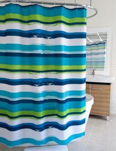 Splash Home Blue Green Oblique Stripe Shower Curtain: BedBathHome.Com
