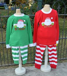 ad7ee656e5 Children s Christmas Pajamas Green Stripe by PipkinsandCuddleBugs