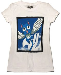 Department is Clothing, T-shirt. Primary color is White. Publisher is GE Animation. Series is Fairy Tail Fairy Tail T Shirt, Fairy Tail Happy, Junior Shirts, Junior Tops, Girls White T Shirt, Fairy Tail Anime, Great Gifts, Fans, Number