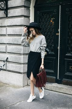Midi Skirt With Stan Smith Sneakers • The Fashion Cuisine