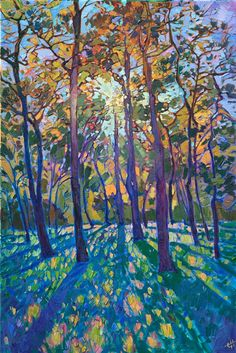 Woodlands pines original oil painting for Texas landscape art collectors ...  Erin Hanson 2018