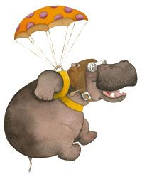 Hippo-Chute - hippo parachute ====================  ALL The Single Hippos prepare parachute for All The Single Lady Hippos ---{last seen in light blue uni-tards and NOT In Flight!}