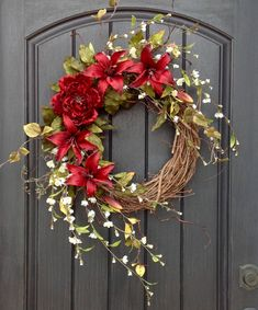 Spring Wreath-Summer Wreath-Floral White Branches-Grapevine Door Wreath Decor-Red Lilies-Red Peony-Mothers Day-Indoor/Outdoor-Artificial by AnExtraordinaryGift on Etsy
