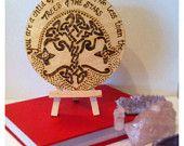 www.facebook.com/midsummerlilys Tree Of Life Wooden Birch Wood Quote Coaster Plaque Pagan Hippy
