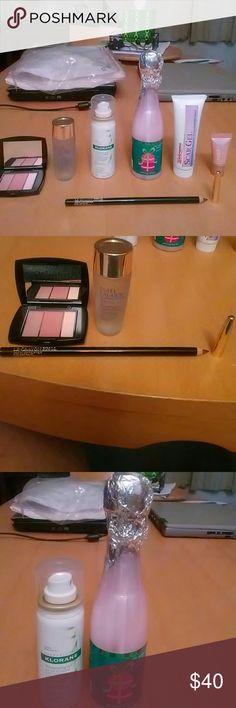Sale: 7pc NWT Makeup Hair/Body & Skincare Set 1-2Lancome: Blush Subtil Palette Face Sculpting & Illuminating All-In-1 Contour Blush & Highlighter 310 New Nude .07 oz. Delux Sz. Le Crayon Khol Eyeliner Pencil 602 Black Ebony .065 oz. Full sz. 3)Estee Lauder Micro Essence Skin Activating Treatment Lotion 1 Oz. 4)Avoine Laboratories Klorane Dry Shampoo w/oat milk gentle formula all hair types 1 oz. 5)Ulta Pink Champagne bubble bath 5 Oz. 6)Clinique all about eyes serum de-puffing eye massage…
