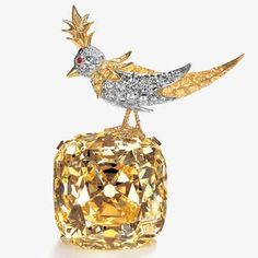 'Bird on a Rock'-Tiffany Yellow Diamond Brooch,128.5 Carats, Setting by Jean  Schlumberger