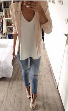 Casual blazer outfit for women (226)