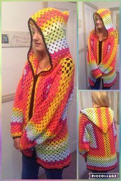 Granny square cosy cardigan. Free crochet pattern.