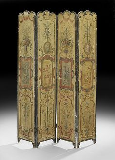 """French Four-Fold Screen, late 19th century, in the neoclassical taste, each narrow canvas fold with a central medallion of a classical figure, vertically flanked by various classical patterns, h. 67"""", w. 48""""."""