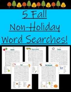 Enjoy 5 fall word searches that aren't related to holidays! These are great for any age range as an early finisher activity or something to keep brains working while not at school. This packet includes the Apples and Back to School Word Searches resource from my store as well as 3 new word searches!