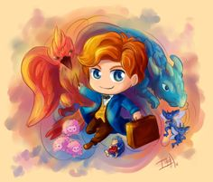 Newt Scamander adorableness but he kinda looks like lockheart in this cartoon o.0