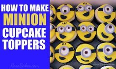 How to Make Minion Cupcake Toppers - Rose BakesYou can find Minion cupcakes and more on our website.How to Make Minion Cupcake Toppers - Rose Bakes Geek Birthday, Superhero Birthday Cake, Minion Birthday, Minion Party, Birthday Cake Girls, Happy Birthday Cakes, 2nd Birthday, Birthday Ideas, Minion Cupcake Toppers