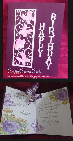 Birthday Card with floral and butterfly insert