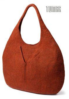 Bag. Felt - 100% wool. Handmade, solid-rolled. Technique - resist felting.  Color: brown mélange. Catalogue: Going Wild, 2016. Tumar Art Group.