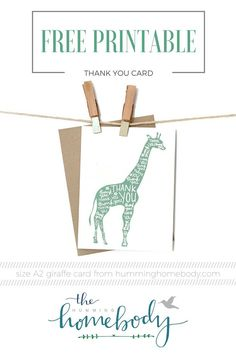 FREE printable giraffe thank you card from The Humming Homebody. Cute for baby shower or kids birthday!