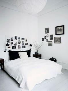 Fotos na cabiceira da cama