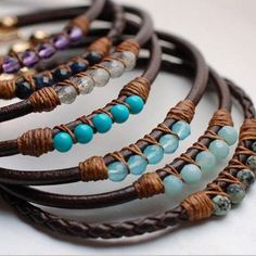 Leather gem bracelets IV ~ I absolutely LOVE these, but the price? Not so much (they're $52, by the way). I think I'm just going to DIY it and make my own.