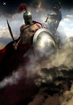 Greek Warrior, Fantasy Warrior, Greek And Roman Mythology, Greek Gods, Samurai, Greek History, Ancient History, Soldier Tattoo, Spartan Tattoo