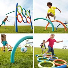 Use pool noodles to make fun outdoor games for the kids.: