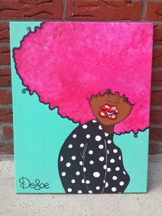 Love pink - SOLD | Defoe2you Small Canvas Art, Mini Canvas Art, Black Art Painting, Eye Painting, Arte Black, Black Art Pictures, Cartoon Painting, Guache, Paint And Sip